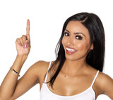 Gorgeous woman with bright happy smile pointing with her finger up towards copy text