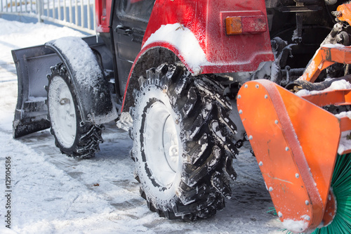Poster tractor wheel in the snow