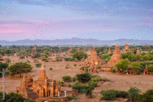 Poster Landscape of Bagan pagoda at sunrise