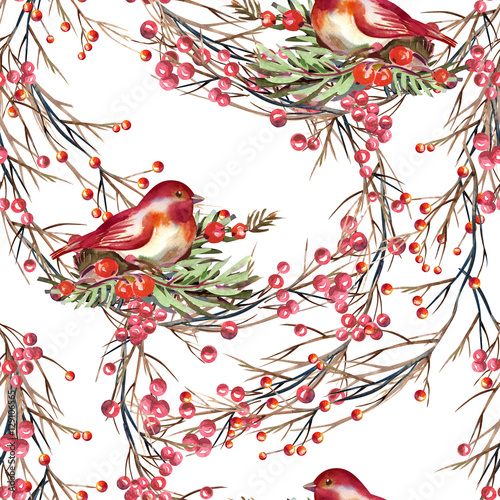 Fototapeta Seamless Pattern with Birds and Berries
