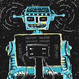 Robot and Computer Vector Illustration