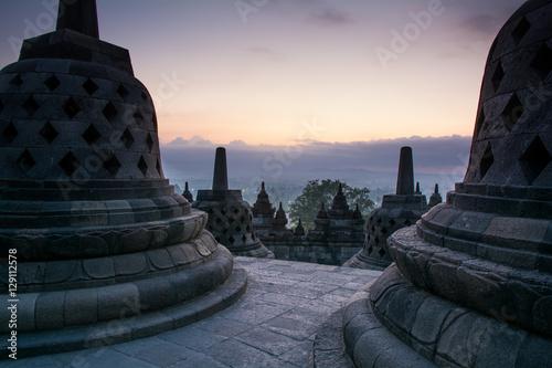 Foto op Plexiglas Indonesië Sunrise at Borobudur Buddhist Temple, Java Island, Indonesia