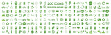 Fototapety 200 ecology & nature green icons set on white background. Vector