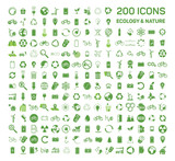 200 ecology  nature green icons set on white background. Vector