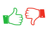 Thumb up and down icon. Vector illustration. - 129119177