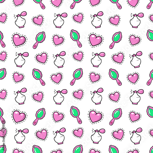 Materiał do szycia Little Girl Princess Seamless Background with Pink Hearts, Perfume and Mirror. Vector Pattern