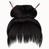 bun  hairs with fringe  dark brunette  . women fashion beauty style .
