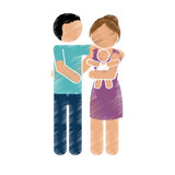 family of parents and new born baby over white background. colorful and sketch design. vector illustration