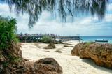 Mare, spiaggia, roccia nell'arcipelago di Zanzibar - Pange Island - Tanzania