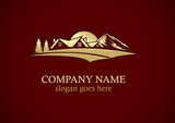 home mountain landscape nature gold logo
