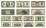 Vector cartoon dollar banknotes isolated on white background illustration. Every denomination of US currency note. Back sides of money bills
