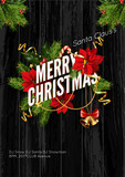 Merry Christmas greeting card template.