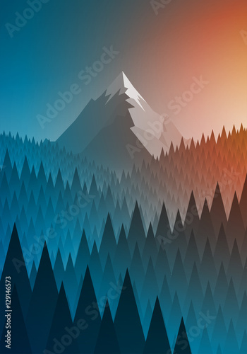 Foto op Canvas Groen blauw Snowy mountain summit and forest