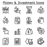 Money  Investment icon set in thin line style
