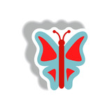 stylish icon in paper sticker style botanic butterfly