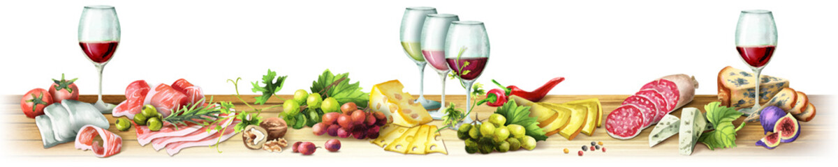 Panoramic image of smoked meat, sausages, cheese and wine on a white background. Can be used for kitchen skinali. Watercolor © dariaustiugova