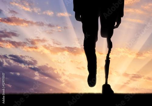 Leg with artificial limb Poster