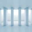 Abstract white room with columns, 3 d blue toned