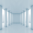 Abstract white corridor perspective with columns
