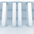 Abstract white room with columns, blue toned 3d