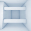 Abstract white room with beams, blue toned 3 d