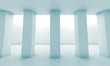 Abstract white room with columns, blue toned 3 d