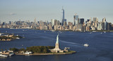 View on statue of liberty from helicopter
