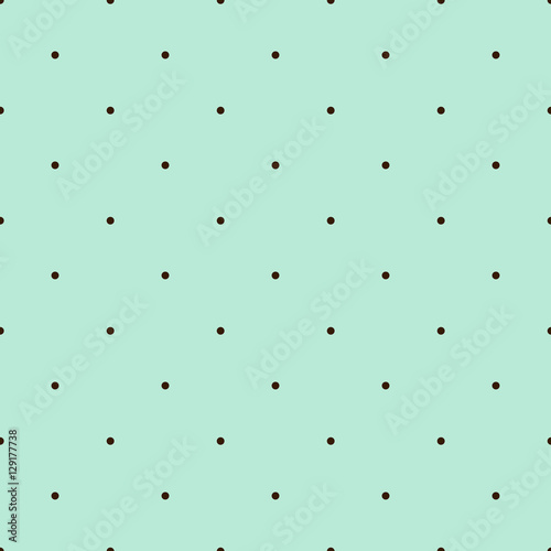 Mint Green Seamless Pattern with Brown Polka Dots - 129177738