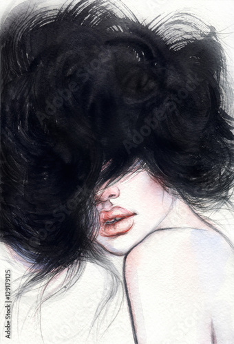 Woman portrait. Fashion illustration. Watercolor painting - 129179125