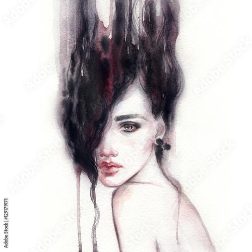 Woman portrait. Fashion illustration. Watercolor painting - 129179171