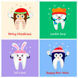 Cute Christmas teeth characters. polar bear, penguin, Owl, deer,  bunny. illustration isolated on background.