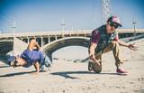 Breakdancers perfrming tricks
