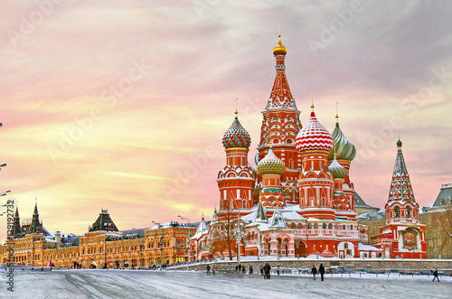 Fotobehang Moskou Moscow,Russia,Red square,view of St. Basil's Cathedral in winter