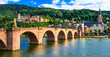 Leinwanddruck Bild - medieval Heidelberg  - view of famous Karl Theodor bridge and castle