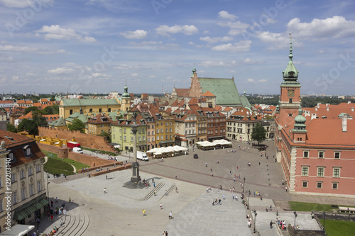 Warsaw. General view of the central square with a bird's-eye view