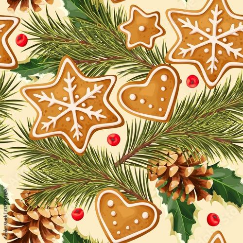 Cotton fabric Christmas ginger seamless