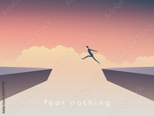 Businessman jumping over chasm vector concept. Symbol of business success, challenge, risk, courage.