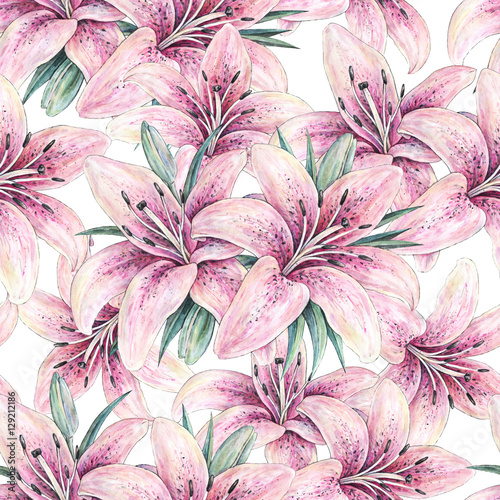 Cotton fabric Pink lily flowers isolated on white background. Watercolor handwork illustration. Drawing of blooming lily with green leaves. Seamless pattern with lilies for design.