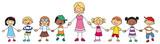 Vektor Illustration einer Lehrerin mit Schulklasse