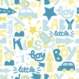Seamless baby pattern with label Boy, Baby, Little.