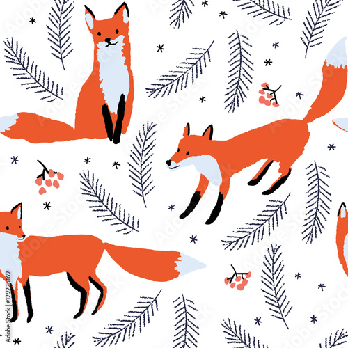 Cotton fabric Red foxes, berries and spruce branches on the white snow background. Vector seamless pattern with wild forest animal. Winter xmas illustration.
