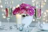 romantic toast in restaurant