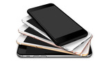 Set of  in five colors smartphones with blank screen: black, glossy black, silver, gold and rose. - 129230305