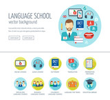 Fototapety Foreign language learning web design concept for website and landing page. Foreign language school and courses. Flat design. Vector