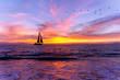 Ocean Sunset Sailboat Silhouette