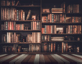 Fototapety blurred Image Many old books on bookshelf in library