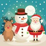 happy merry christmas snowman character vector illustration design