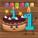 happy birthday candle number character vector illustration design