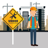worker construction avatar icon vector illustration design