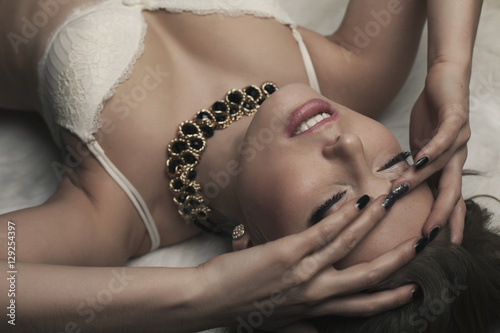 Plakát, Obraz Erotic sexy woman with closed eyes studio fashion beauty portrai